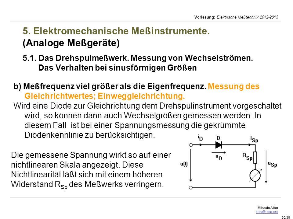 Mihaela Albu albu@ieee.org Vorlesung: Elektrische Meßtechnik 2012-2013 30/36 5. Elektromechanische Meßinstrumente. (Analoge Meßgeräte) 5.1. Das Drehsp