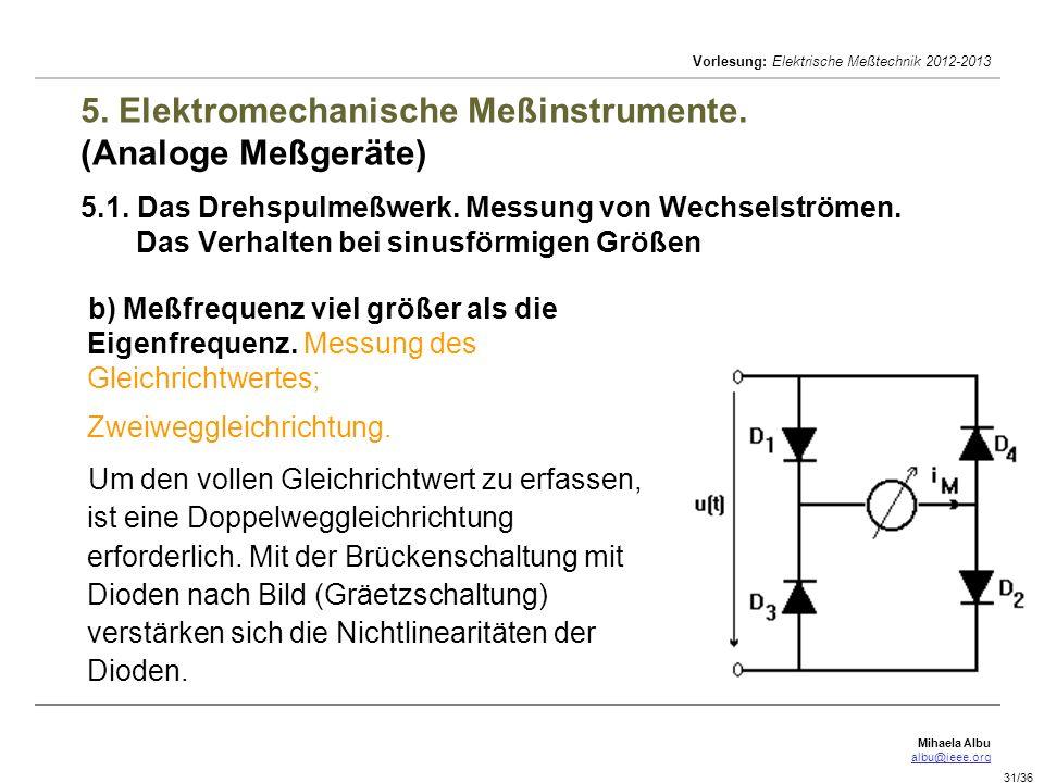 Mihaela Albu albu@ieee.org Vorlesung: Elektrische Meßtechnik 2012-2013 31/36 5. Elektromechanische Meßinstrumente. (Analoge Meßgeräte) 5.1. Das Drehsp