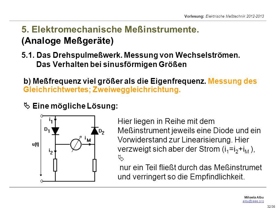 Mihaela Albu albu@ieee.org Vorlesung: Elektrische Meßtechnik 2012-2013 32/36 5. Elektromechanische Meßinstrumente. (Analoge Meßgeräte) 5.1. Das Drehsp