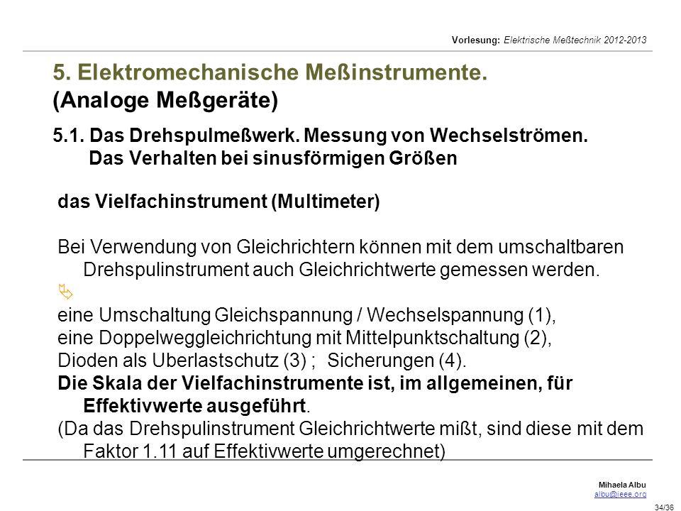 Mihaela Albu albu@ieee.org Vorlesung: Elektrische Meßtechnik 2012-2013 34/36 5. Elektromechanische Meßinstrumente. (Analoge Meßgeräte) 5.1. Das Drehsp