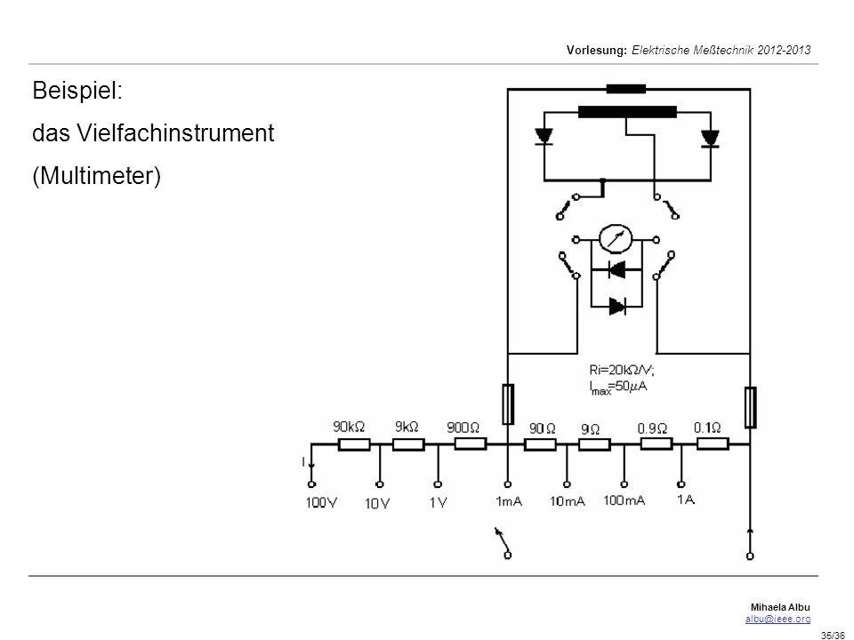 Mihaela Albu albu@ieee.org Vorlesung: Elektrische Meßtechnik 2012-2013 35/36 Beispiel: das Vielfachinstrument (Multimeter)