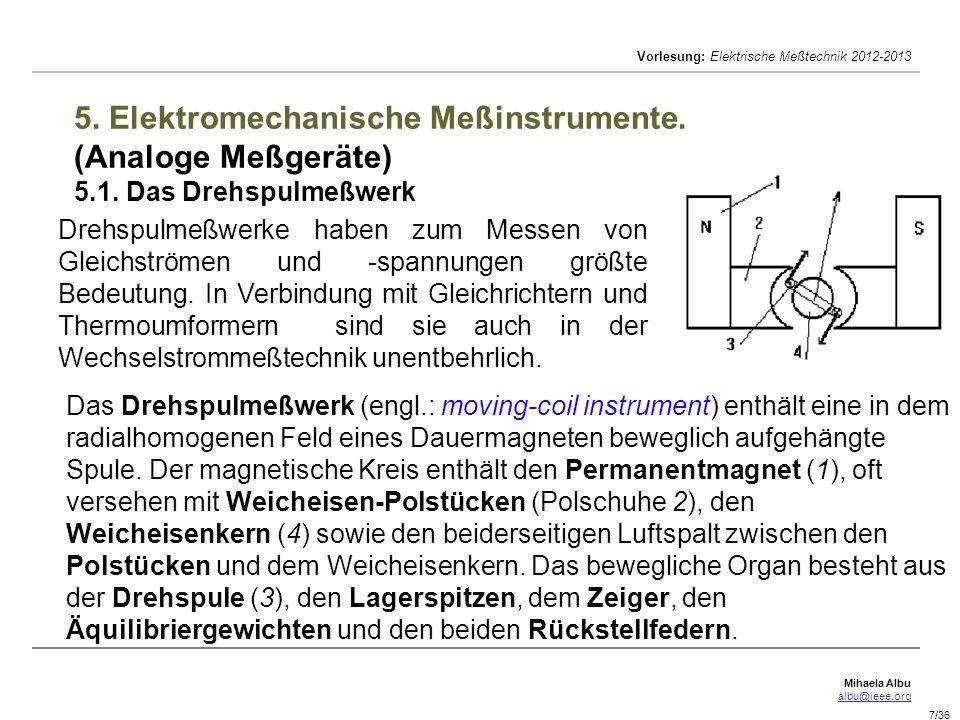 Mihaela Albu albu@ieee.org Vorlesung: Elektrische Meßtechnik 2012-2013 7/36 5. Elektromechanische Meßinstrumente. (Analoge Meßgeräte) 5.1. Das Drehspu