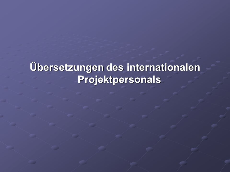 Übersetzungen des internationalen Projektpersonals
