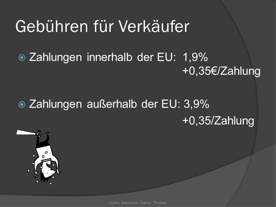 Andre, Sebastian, Galina, Thomas Gebühren für Verkäufer Zahlungen innerhalb der EU: 1,9% +0,35/Zahlung Zahlungen außerhalb der EU: 3,9% +0,35/Zahlung