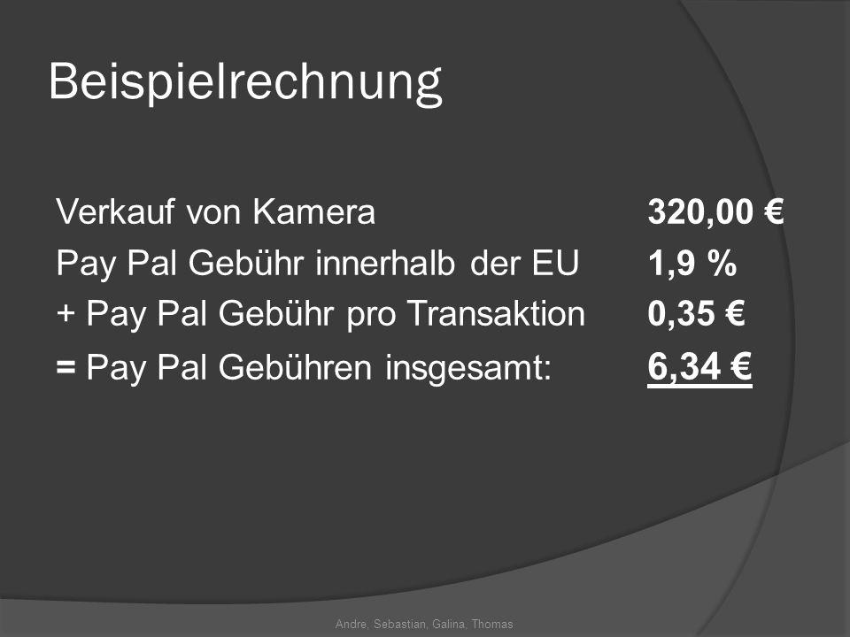 Andre, Sebastian, Galina, Thomas Beispielrechnung Verkauf von Kamera320,00 Pay Pal Gebühr innerhalb der EU 1,9 % + Pay Pal Gebühr pro Transaktion 0,35