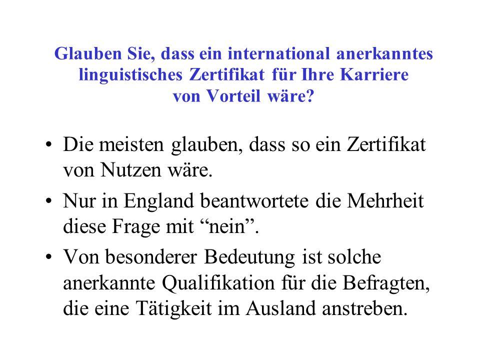 Glauben Sie, dass ein international anerkanntes linguistisches Zertifikat für Ihre Karriere von Vorteil wäre.
