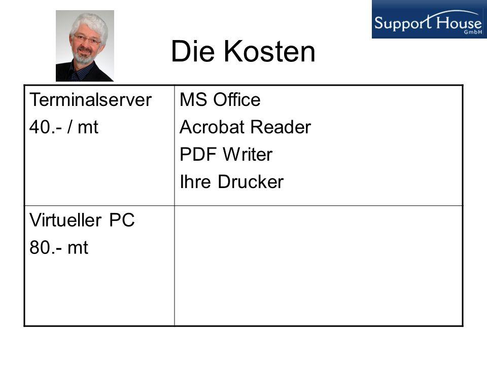 Die Kosten Terminalserver 40.- / mt MS Office Acrobat Reader PDF Writer Ihre Drucker Virtueller PC 80.- mt