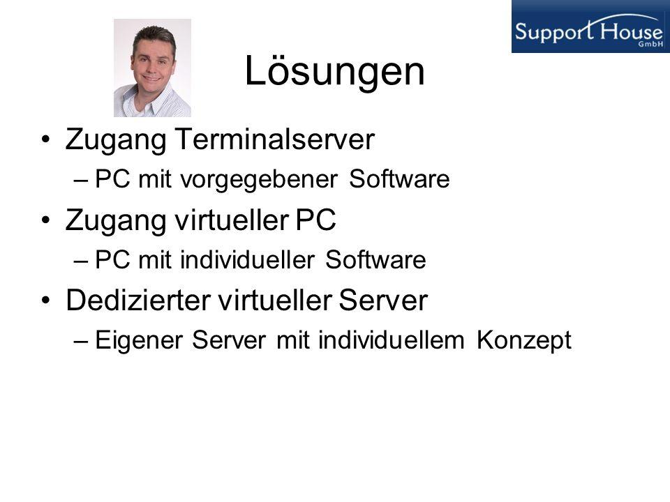 Lösungen Zugang Terminalserver –PC mit vorgegebener Software Zugang virtueller PC –PC mit individueller Software Dedizierter virtueller Server –Eigene