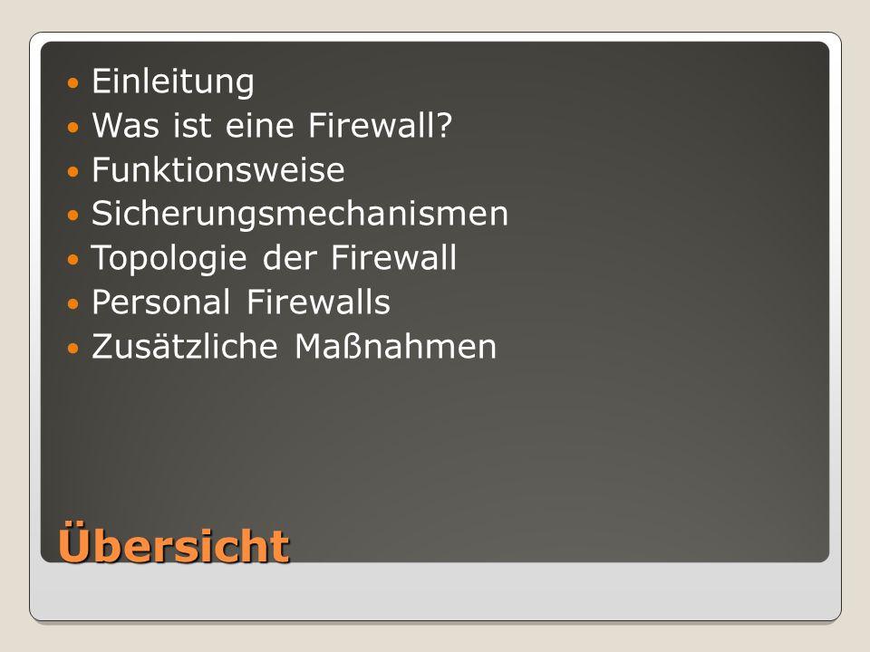 Übersicht Einleitung Was ist eine Firewall.