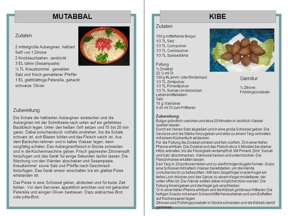 KIBEMUTABBAL Zutaten 2 mittelgroße Auberginen, halbiert Saft von 1 Zitrone 2 Knoblauchzehen, zerdrückt 3 EL tahini (Sesampaste) ½ TL Kreuzkümmel, gema