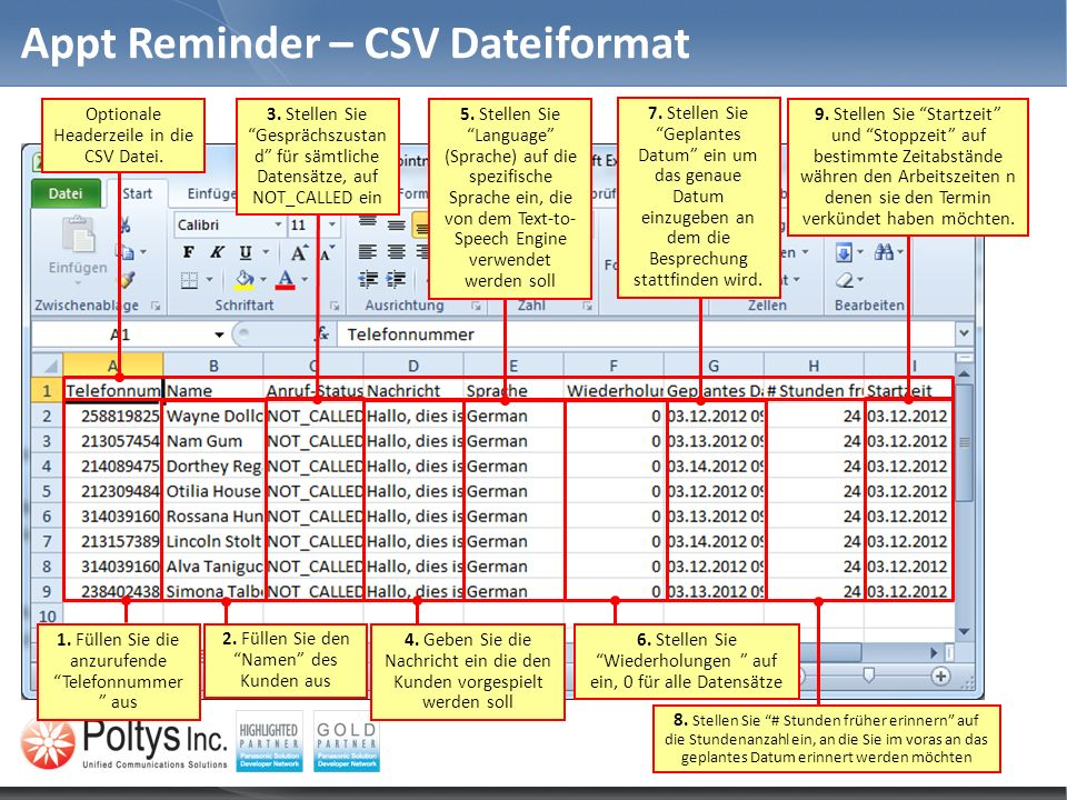 Appt Reminder – CSV Dateiformat Optionale Headerzeile in die CSV Datei.