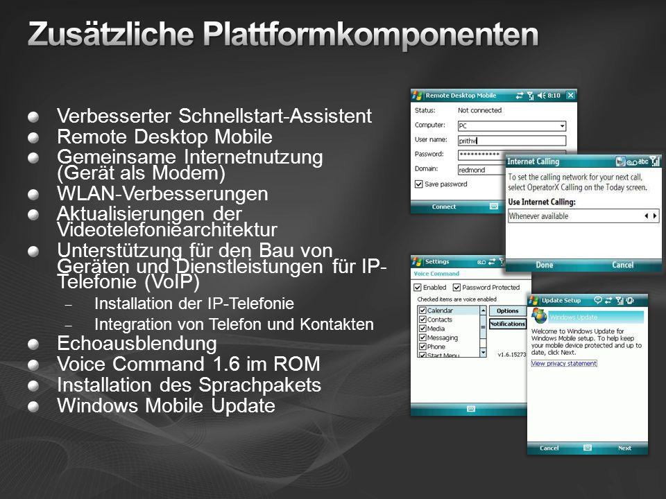 Verbesserter Schnellstart-Assistent Remote Desktop Mobile Gemeinsame Internetnutzung (Gerät als Modem) WLAN-Verbesserungen Aktualisierungen der Videotelefoniearchitektur Unterstützung für den Bau von Geräten und Dienstleistungen für IP- Telefonie (VoIP) – Installation der IP-Telefonie – Integration von Telefon und Kontakten Echoausblendung Voice Command 1.6 im ROM Installation des Sprachpakets Windows Mobile Update