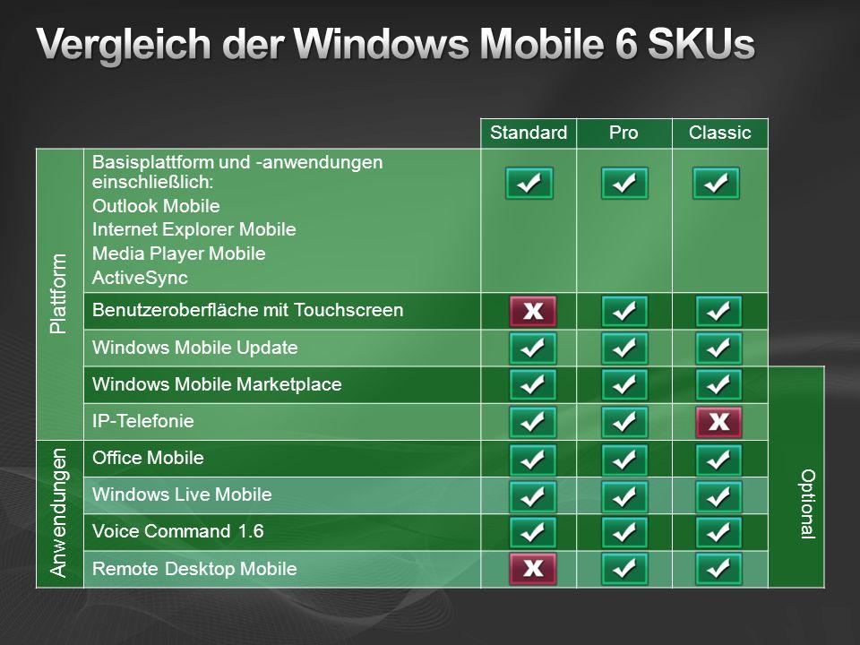 StandardProClassic Plattform Basisplattform und -anwendungen einschließlich: Outlook Mobile Internet Explorer Mobile Media Player Mobile ActiveSync Be