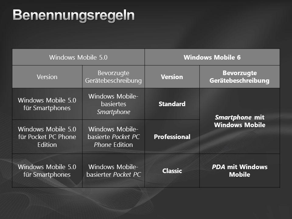 Windows Mobile 5.0Windows Mobile 6 Version Bevorzugte Gerätebeschreibung Version Bevorzugte Gerätebeschreibung Windows Mobile 5.0 für Smartphones Wind