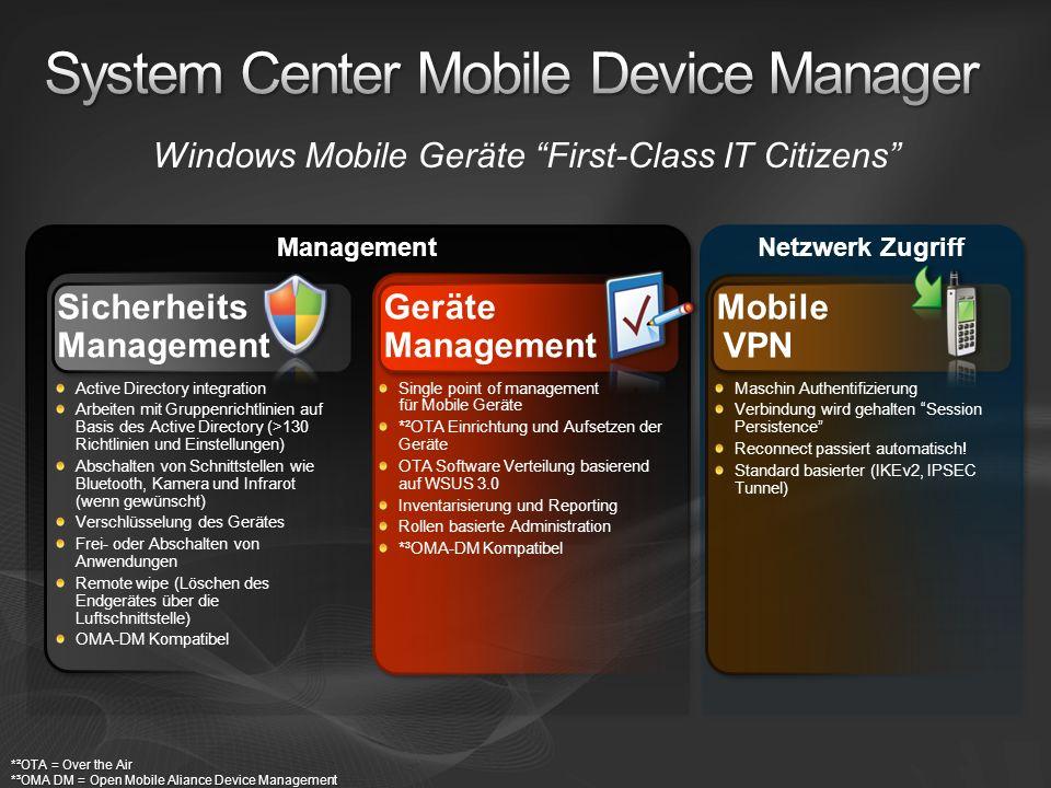 Netzwerk Zugriff Management Windows Mobile Geräte First-Class IT Citizens Sicherheits Management Active Directory integration Arbeiten mit Gruppenrich
