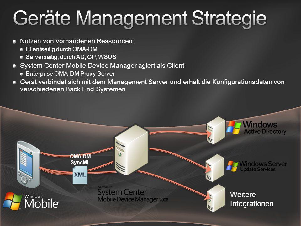 Nutzen von vorhandenen Ressourcen: Clientseitig durch OMA-DM Serverseitig, durch AD, GP, WSUS System Center Mobile Device Manager agiert als Client Enterprise OMA-DM Proxy Server Gerät verbindet sich mit dem Management Server und erhält die Konfigurationsdaten von verschiedenen Back End Systemen OMA DM SyncML Weitere Integrationen