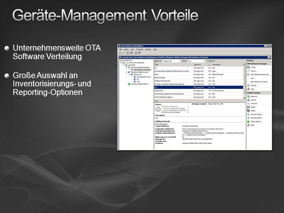 Unternehmensweite OTA Software Verteilung Große Auswahl an Inventorisierungs- und Reporting-Optionen