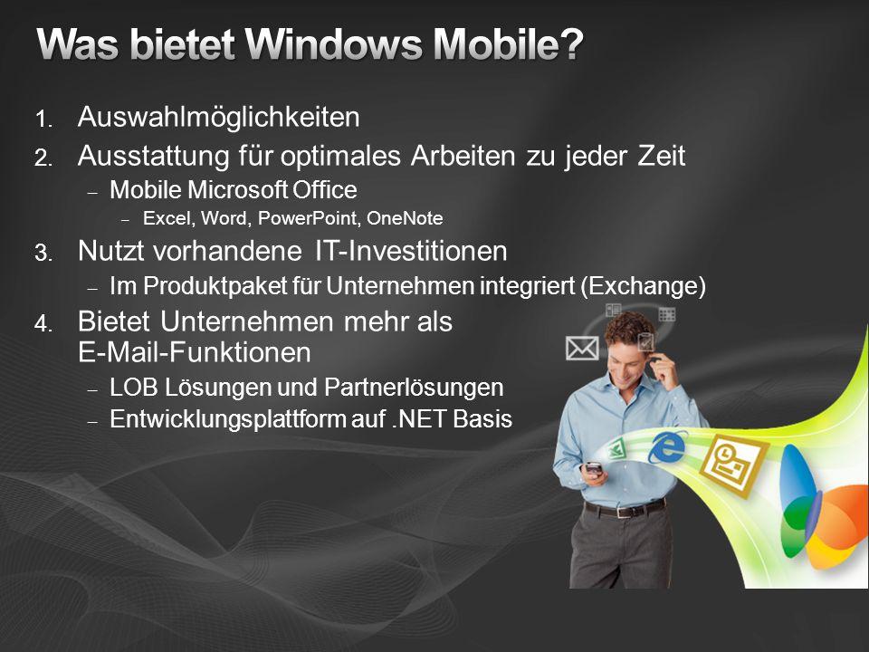 1. Auswahlmöglichkeiten 2. Ausstattung für optimales Arbeiten zu jeder Zeit – Mobile Microsoft Office – Excel, Word, PowerPoint, OneNote 3. Nutzt vorh