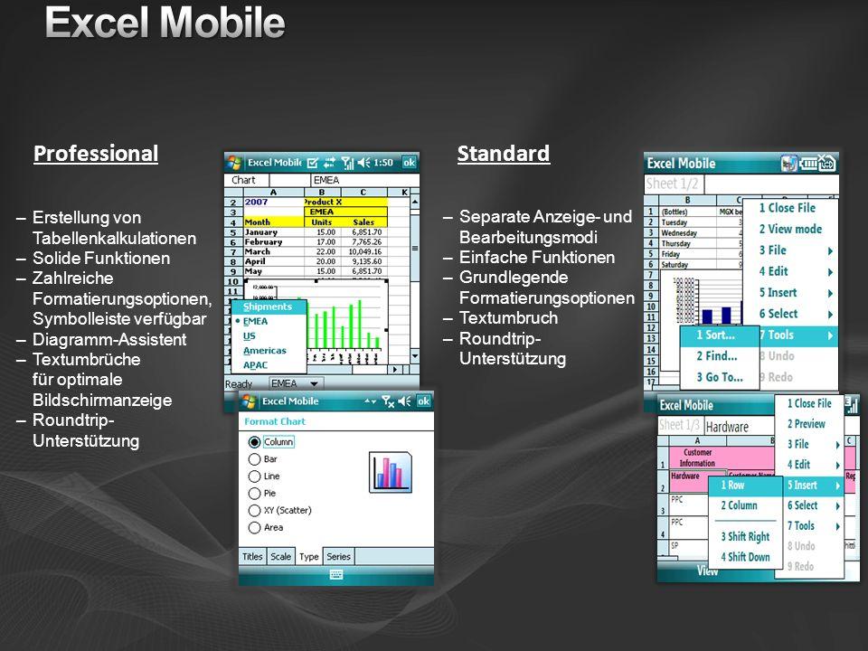 Professional Standard –Erstellung von Tabellenkalkulationen –Solide Funktionen –Zahlreiche Formatierungsoptionen, Symbolleiste verfügbar –Diagramm-Ass