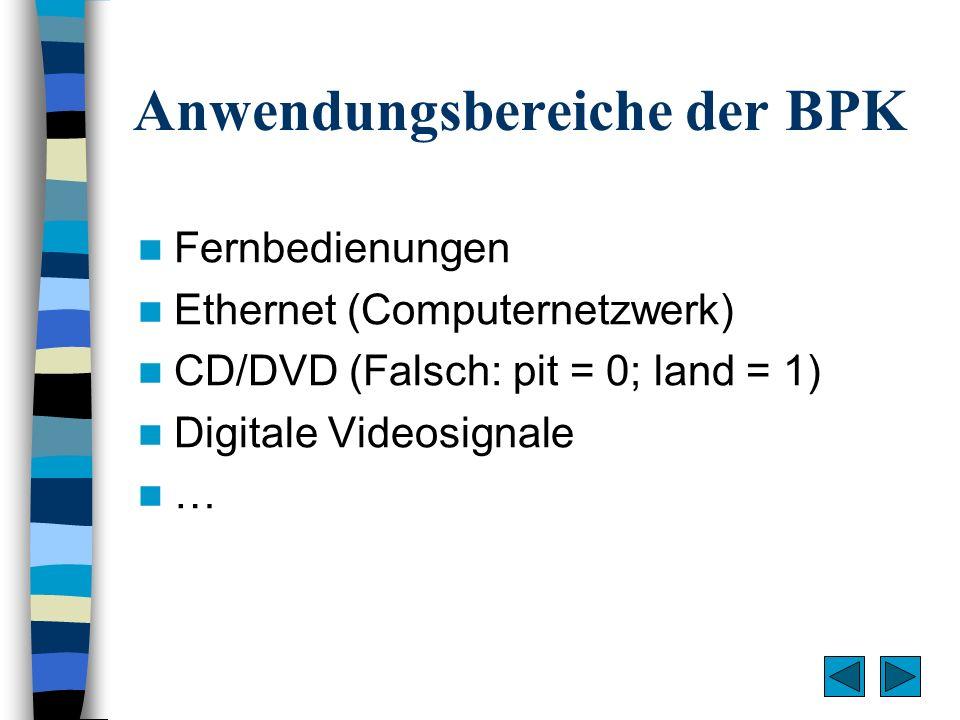 Anwendungsbereiche der BPK Fernbedienungen Ethernet (Computernetzwerk) CD/DVD (Falsch: pit = 0; land = 1) Digitale Videosignale …