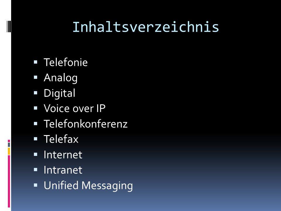 Inhaltsverzeichnis Telefonie Analog Digital Voice over IP Telefonkonferenz Telefax Internet Intranet Unified Messaging