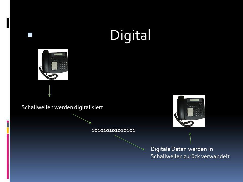 Digital Schallwellen werden digitalisiert Digitale Daten werden in Schallwellen zurück verwandelt. 101010101010101