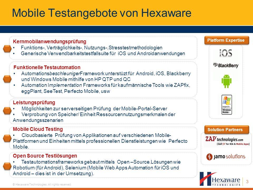 3 © Hexaware Technologies. All rights reserved. Mobile Testangebote von Hexaware Kernmobilanwendungsprüfung Funktions-, Verträglichkeits-, Nutzungs-,S