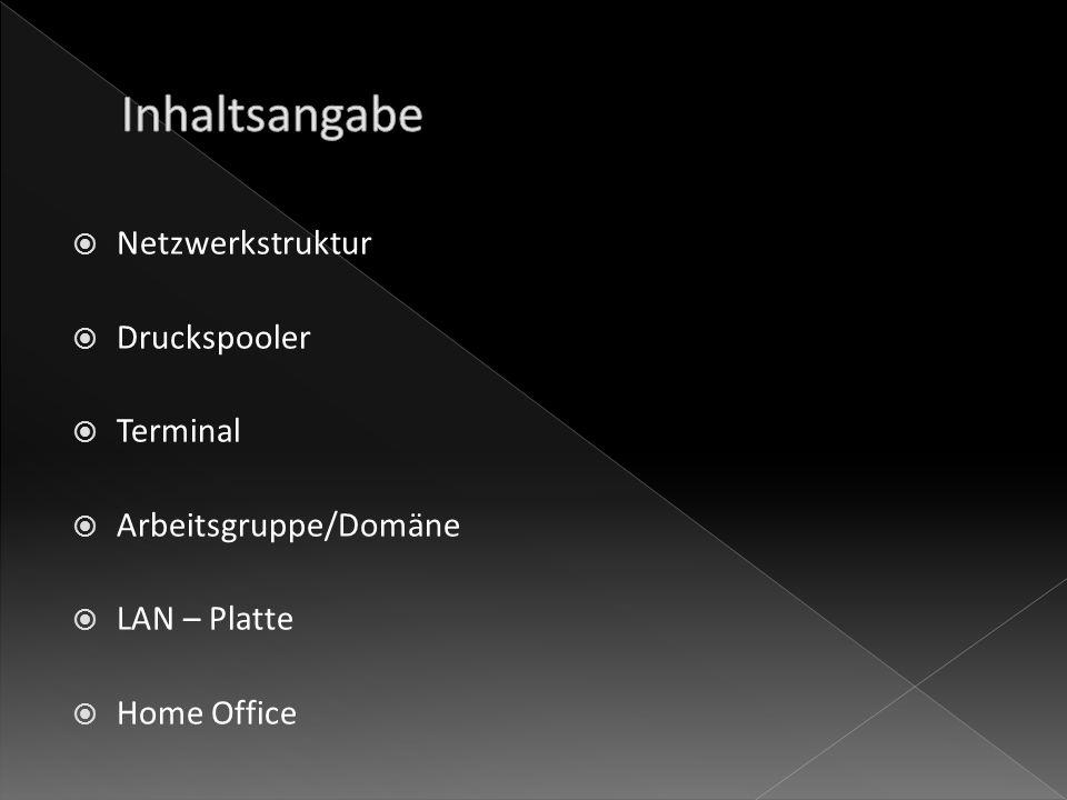 Netzwerkstruktur Druckspooler Terminal Arbeitsgruppe/Domäne LAN – Platte Home Office