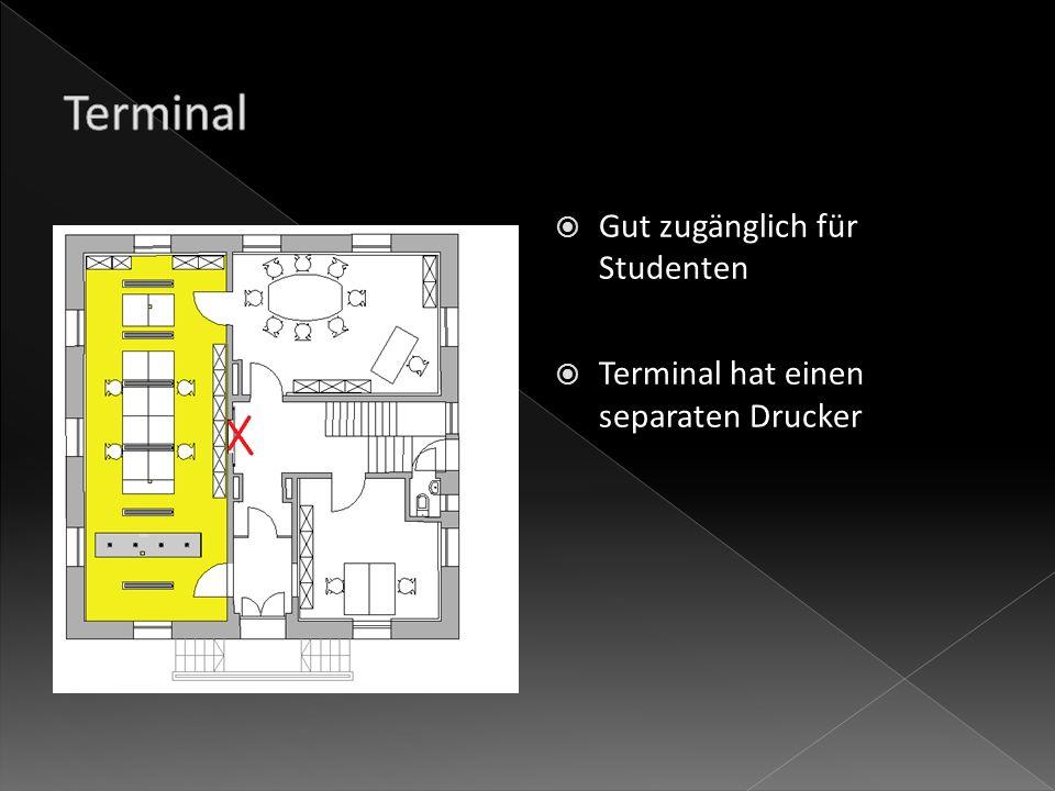 Gut zugänglich für Studenten Terminal hat einen separaten Drucker