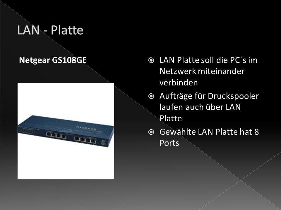 LAN Platte soll die PC´s im Netzwerk miteinander verbinden Aufträge für Druckspooler laufen auch über LAN Platte Gewählte LAN Platte hat 8 Ports Netgear GS108GE