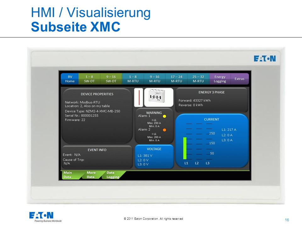 16 © 2011 Eaton Corporation. All rights reserved. HMI / Visualisierung Subseite XMC