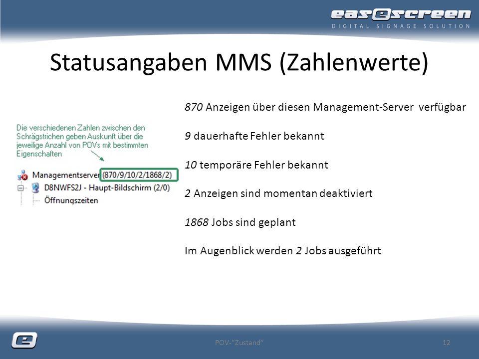 Statusangaben MMS (Zahlenwerte) POV-Zustand12 870 Anzeigen über diesen Management-Server verfügbar 9 dauerhafte Fehler bekannt 10 temporäre Fehler bek