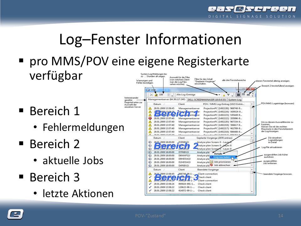 Log–Fenster Informationen pro MMS/POV eine eigene Registerkarte verfügbar Bereich 1 Fehlermeldungen Bereich 2 aktuelle Jobs Bereich 3 letzte Aktionen