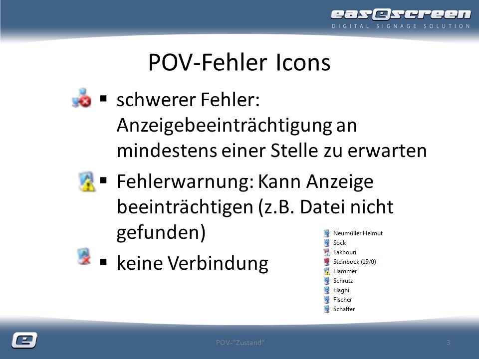 POV-Fehler Icons schwerer Fehler: Anzeigebeeinträchtigung an mindestens einer Stelle zu erwarten Fehlerwarnung: Kann Anzeige beeinträchtigen (z.B. Dat