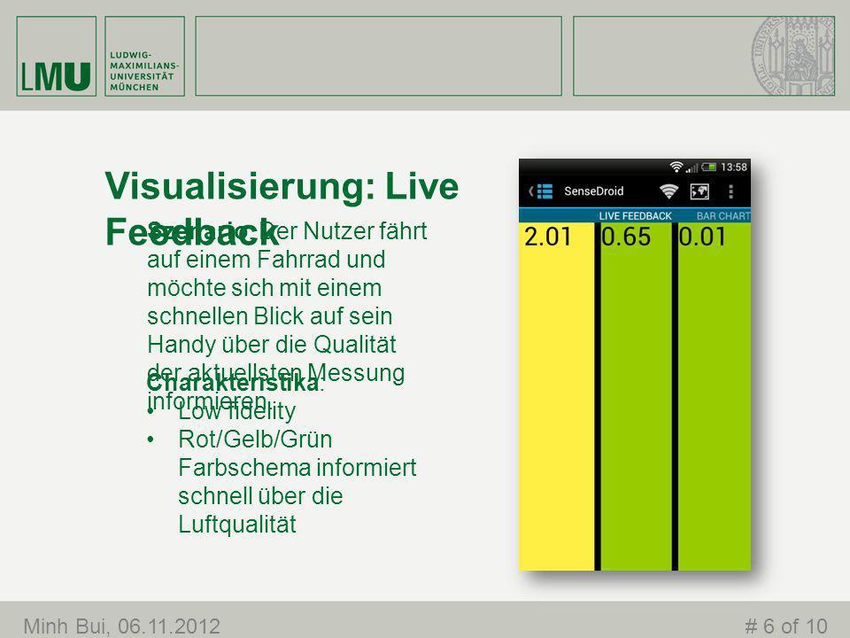 Visualisierung: Live Feedback Szenario: Der Nutzer fährt auf einem Fahrrad und möchte sich mit einem schnellen Blick auf sein Handy über die Qualität der aktuellsten Messung informieren.