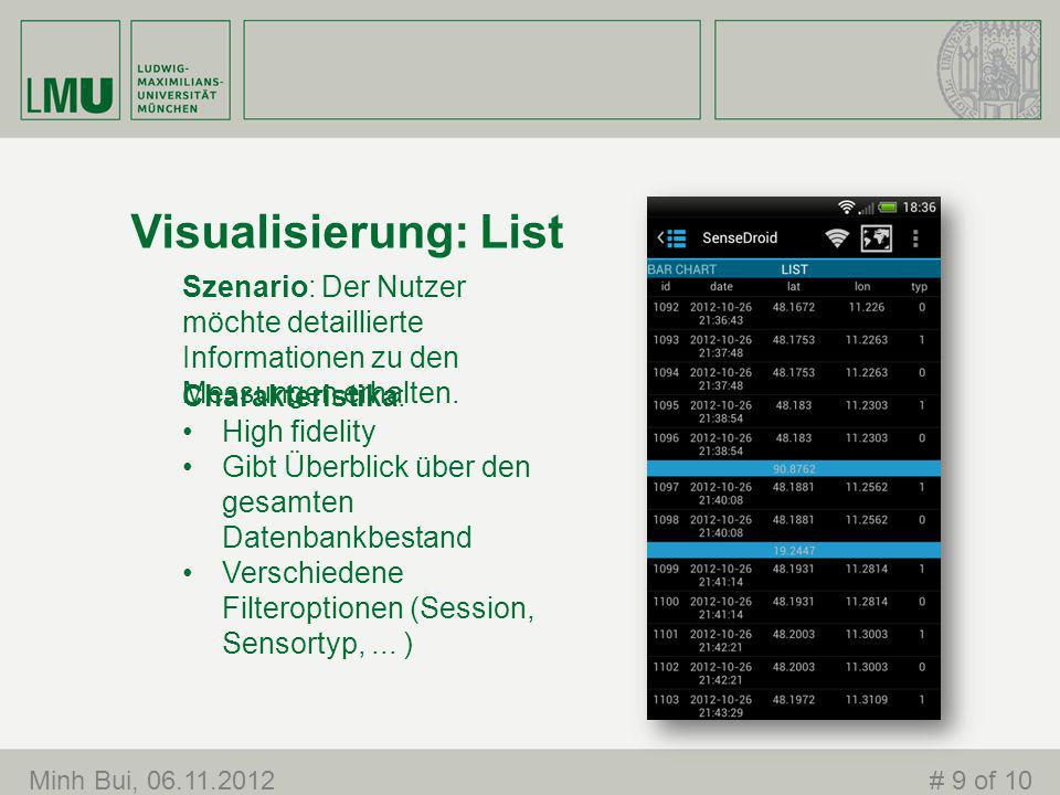 Visualisierung: List Minh Bui, 06.11.2012# 9 of 10 Charakteristika: High fidelity Gibt Überblick über den gesamten Datenbankbestand Verschiedene Filteroptionen (Session, Sensortyp,...