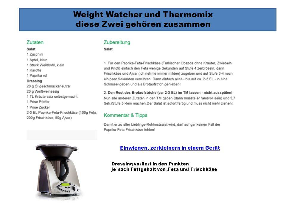 Weight Watcher und Thermomix diese Zwei gehören zusammen Einwiegen, zerkleinern in einem Gerät Himbeeressig ist mit Zucker selbst angesetzt, dadurch 2 P Walnusse auch durch 6 Mandeln (1P) ersetztbar.
