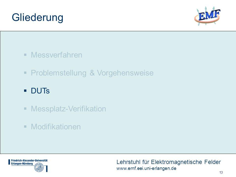 13 Lehrstuhl für Elektromagnetische Felder www.emf.eei.uni-erlangen.de Messverfahren Problemstellung & Vorgehensweise DUTs Messplatz-Verifikation Modifikationen Gliederung