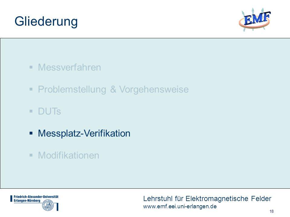 18 Lehrstuhl für Elektromagnetische Felder www.emf.eei.uni-erlangen.de Messverfahren Problemstellung & Vorgehensweise DUTs Messplatz-Verifikation Modifikationen Gliederung
