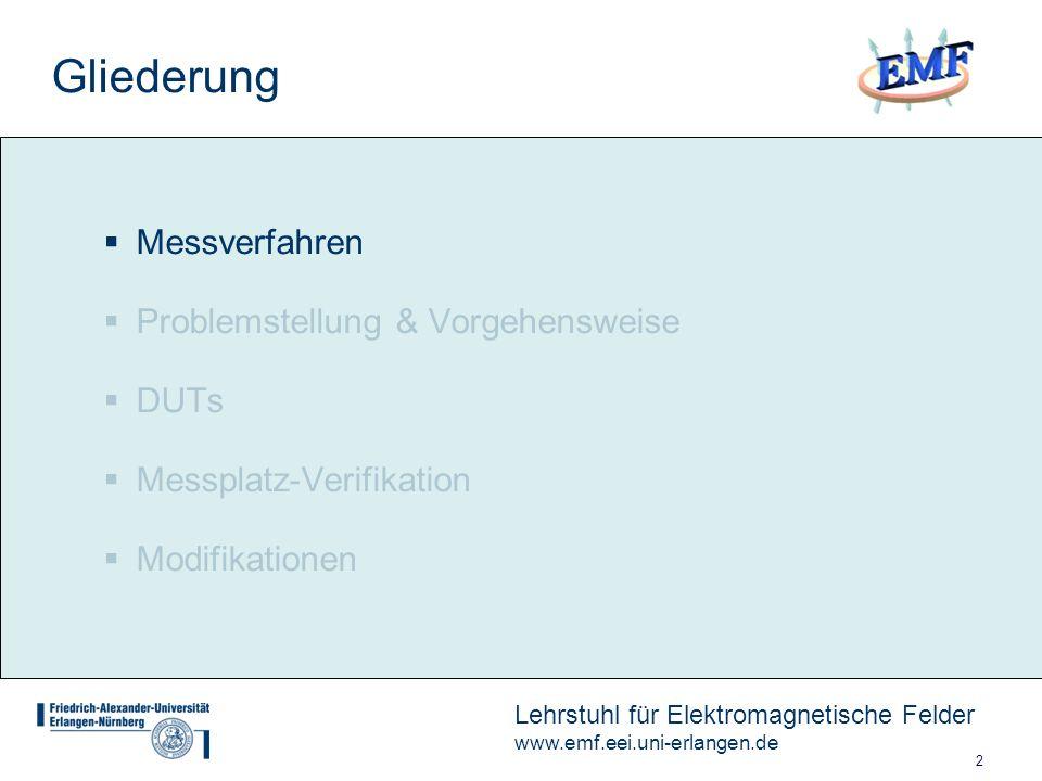 2 Lehrstuhl für Elektromagnetische Felder www.emf.eei.uni-erlangen.de Gliederung Messverfahren Problemstellung & Vorgehensweise DUTs Messplatz-Verifikation Modifikationen