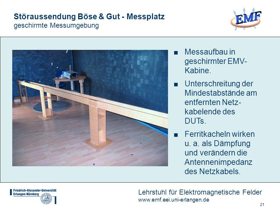 21 Lehrstuhl für Elektromagnetische Felder www.emf.eei.uni-erlangen.de Störaussendung Böse & Gut - Messplatz geschirmte Messumgebung Messaufbau in geschirmter EMV- Kabine.