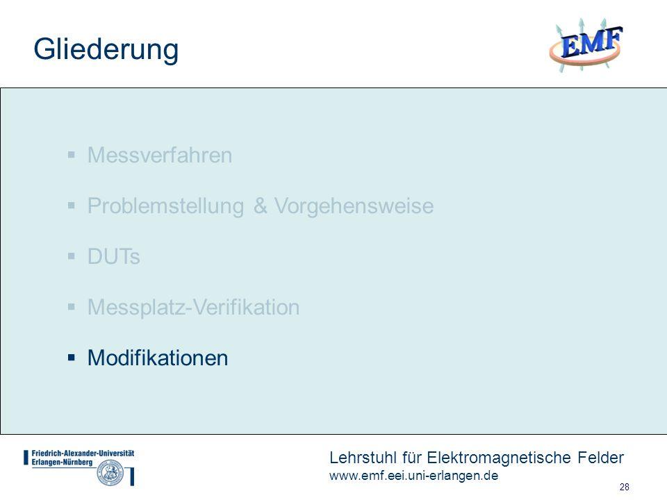 28 Lehrstuhl für Elektromagnetische Felder www.emf.eei.uni-erlangen.de Messverfahren Problemstellung & Vorgehensweise DUTs Messplatz-Verifikation Modifikationen Gliederung