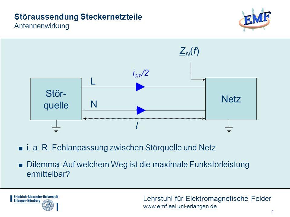 5 Lehrstuhl für Elektromagnetische Felder www.emf.eei.uni-erlangen.de Störaussendung Steckernetzteile Aufbau Messwandlerzange Quelle: DIN EN 55016-2-2