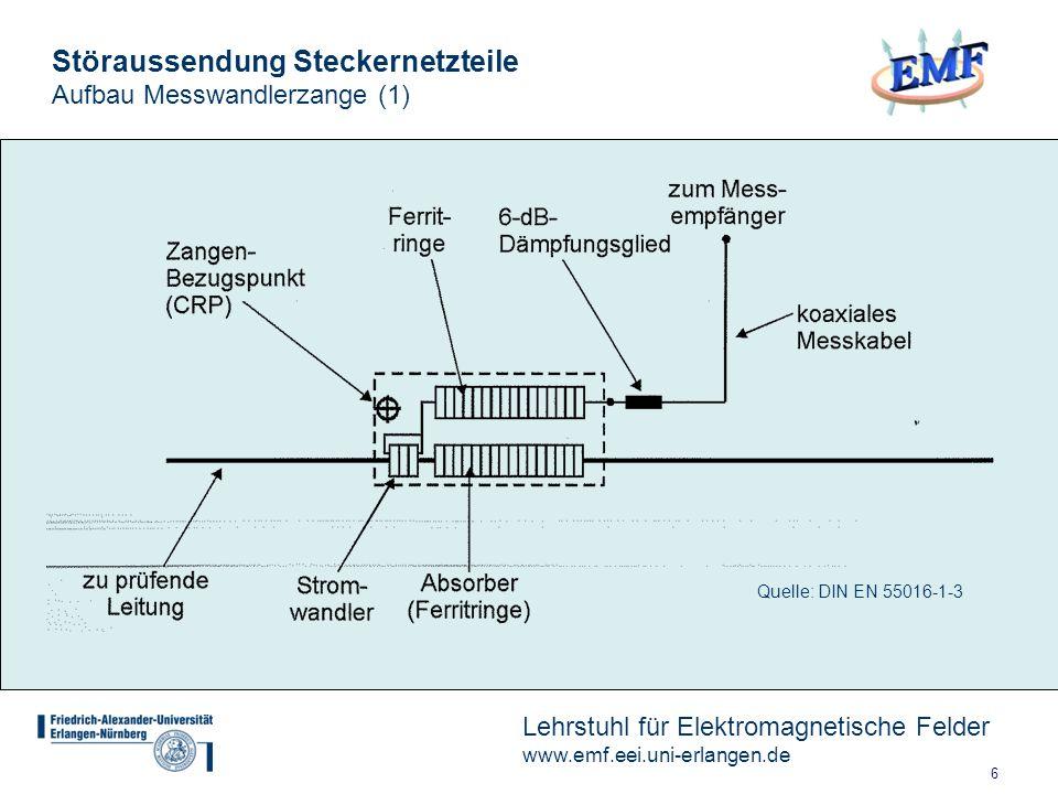 6 Lehrstuhl für Elektromagnetische Felder www.emf.eei.uni-erlangen.de Störaussendung Steckernetzteile Aufbau Messwandlerzange (1) Quelle: DIN EN 55016-1-3