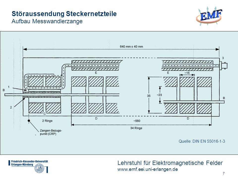 8 Lehrstuhl für Elektromagnetische Felder www.emf.eei.uni-erlangen.de Störaussendung Steckernetzteile Kalibrierdaten Messwandlerzange Quelle: Zangenhersteller