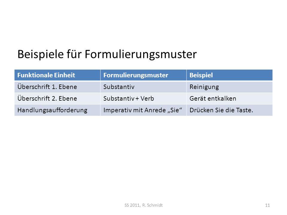 Beispiele für Formulierungsmuster Funktionale EinheitFormulierungsmusterBeispiel Überschrift 1.