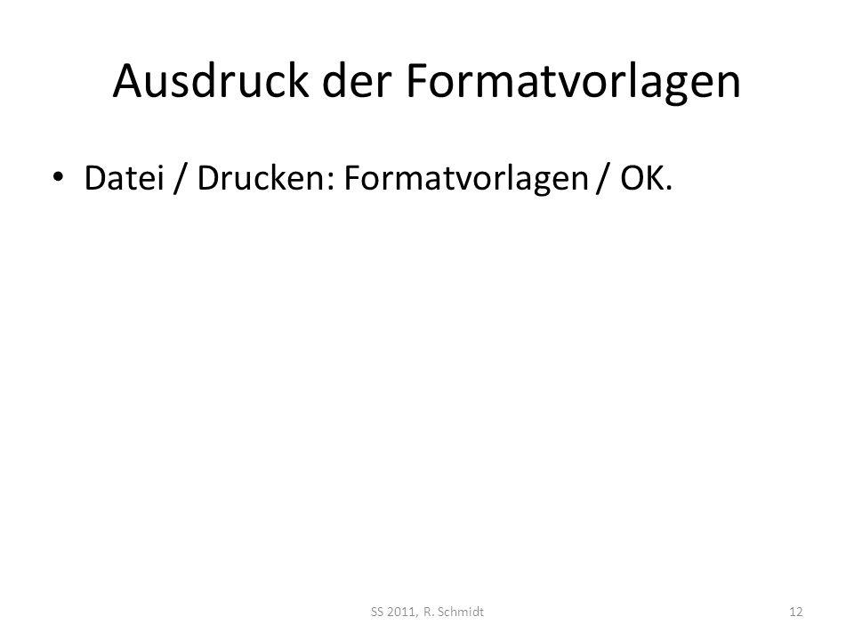 Ausdruck der Formatvorlagen Datei / Drucken: Formatvorlagen / OK. SS 2011, R. Schmidt12
