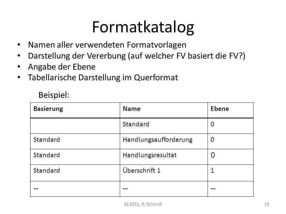 Formatkatalog Namen aller verwendeten Formatvorlagen Darstellung der Vererbung (auf welcher FV basiert die FV?) Angabe der Ebene Tabellarische Darstellung im Querformat Beispiel: SS 2011, R.