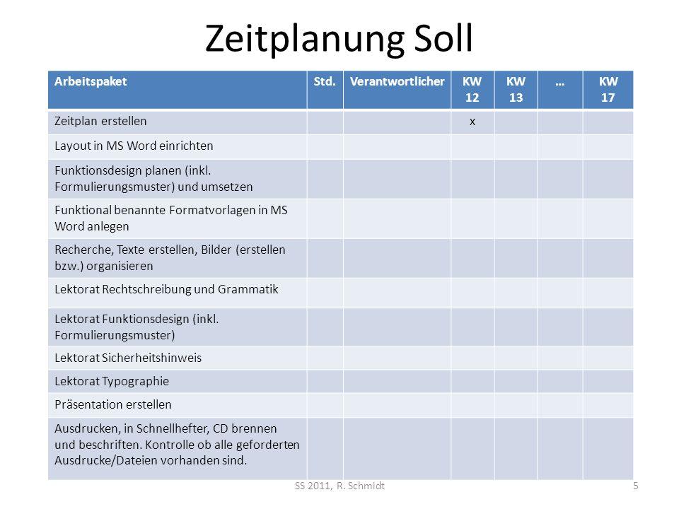 Zeitplanung Soll SS 2011, R.