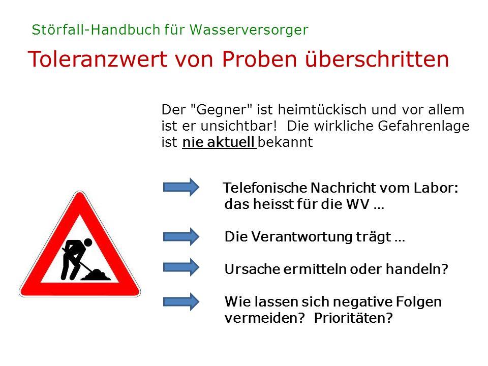 Toleranzwert von Proben überschritten Störfall-Handbuch für Wasserversorger Der